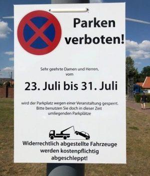 Sperrung Parkplätze